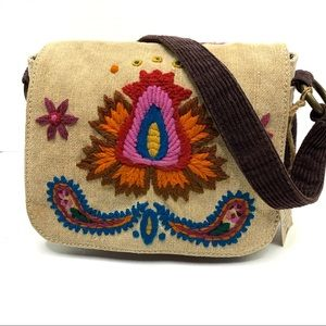 New Lucky Brand Embroidered Canvas Shoulder Bag